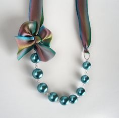 Peacock Bridesmaid Necklace - Silk Ribbon Necklace in Teal Pearls and Peacock - Wedding Necklaces -Prom Necklaces
