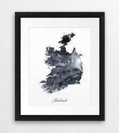 Ireland Watercolor Map, Ireland Watercolor Grey Black White, Ireland Watercolor…