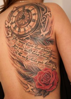 Chronic Ink Tattoo, Toronto Tattoo - Clock, Quote and rose tattoo by Winson