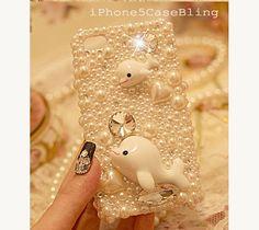 iPhone 4 Case, iPhone 4s Case, iPhone 5 Case, iPhone 5 Bling Case, Bling iPhone 4 case, Pearl iPhone 4 case dolphin, Cute iphone 4 case by iPhone5CaseBling, $18.98