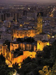 Malaga at night.Spain