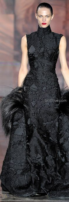 Giles Fall Winter 2011 Ready to Wear.  Lovely black on black with lots of texture.  Complexity within simplicity.  Modest while alluring.