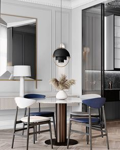 Ideas Design Interior Geometric Furniture For 2019 Gray Dining Chairs, Dining Room Walls, Dining Room Design, Dining Table, Geometric Furniture, Furniture Design, Apartment Interior Design, Home Interior, Grey Interior Design