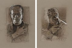 Frankenstein and Wolfman Portraits by Drew Struzan Classic Monster Movies, Classic Monsters, Group Art, Bride Of Frankenstein, Halloween Pictures, Classic Films, Screen Printing, Graphic Art, Horror