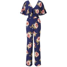 Miss Selfridge Navy Floral Frill Jumpsuit (£72) ❤ liked on Polyvore featuring jumpsuits, navy, short sleeve jumpsuit, blue jumpsuit, ruffle jumpsuit, floral jumpsuit and jump suit