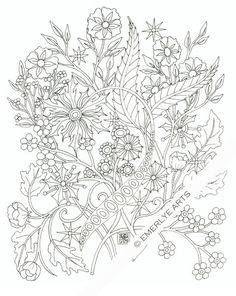 Printable Coloring Page -Bunch of Flowers