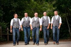 Groomsmen in Vests and Jeans for a rustic wedding | Sarah Slavik Photography http://www.weddingphotousa.com/city/atlanta/slava-slavik-photography/