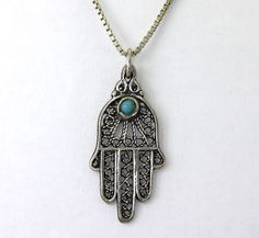 Vintage Turquoise Sterling Silver Hand of God Hamas Pendant w/ Chain Israel