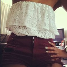 love the burgundy denim and white lace
