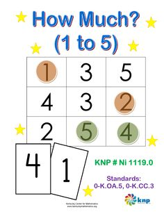 """How Much? (1 to 5)"" - Recognize numbers 1 to 5 and match quantities to them. Supports learning Common Core Standards: 0-K.OA.5, 0-K.CC.3 [KNP Task # Ni 1119.0]"