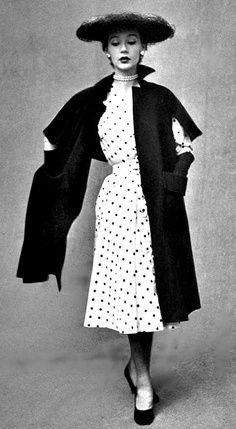 Sophie Malgat in dress by Piquet and hat by Gilbert Orcel, 1951