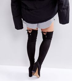 9e01c49e8fb ASOS KARMA Wide Fit Pointy Over The Knee Boots – Black. Trendization