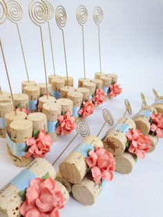 Table Number Holder in Gold w/ Peach Flowers & Powder Blue Satin Ribbons, Table Number Stand, Table Number Holder Gold, Rustic Wedding Decor by KarasVineyardWedding on Etsy