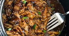The easy recipe for honey-garlic chicken in the slow cooker! Slow Cooker Recipes, Crockpot Recipes, Healthy Recipes, Easy Recipes, Healthy Food, Honey Recipes, Baked Chicken Recipes, Honey Garlic Chicken, Crock Pot Cooking