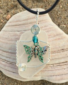 #817 Butterfly on clear Seaglass