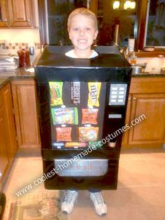 Homemade Candy Vending Machine Costume: The Tuesday before Halloween, my 9 year old son came home from school in tears, saying that his classmates had teased him that his Ninja costume idea for