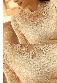 Camisa feminina de renda e gola Royal - Preta ou branca até Plus Size