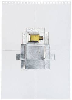 untitled(yellow), 2012 silver leaf-cardboard-celluloid-graphite on paper