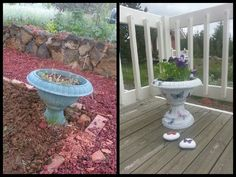 Old plastic flower pot gets a new look