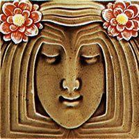 Germany, Meissen-Tile 150 x 150 mm, press moulded around 1910 Antique Tiles, Vintage Tile, Decorative Panels, Decorative Tile, Ceramic Tile Art, Art Tiles, Azulejos Art Nouveau, Craftsman Tile, Art Nouveau Tiles