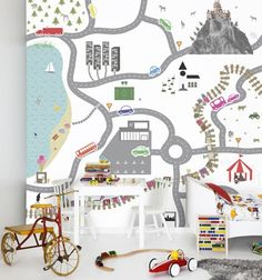 Love this wall map for a kid's room. Love.