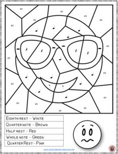 Music Coloring Sheets: 26 Color by Music Note and Rest