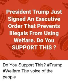 Why should criminals be supported by tax payers? They broke the laws of the US. The Voice, Trump, and Voice: President Trump Just Signed An Executive Order That Prevents Illegals From Using Welfare. Do You SUPPORT THIS ? Do You Support Th Terrible Memes, Trump Quotes, Trump Is My President, Conservative Republican, Political Views, Executive Order, We The People, Donald Trump, Presidents
