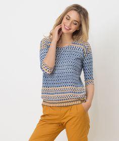 1.2.3 Paris - Les looks printemps-été 2017 - #Pull imprimé #bleu Hammam 69€ #123paris #mode #fashion #shopping #ootd #blue #prints #maille #knit #knitwear
