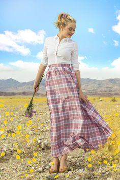 Evi Plaid Taffeta Skirt Pink by Shabby Apple