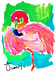 Art Print 8.5x11 Pink Flamingo artist Kelly Tracht Giclee Print on 100% Cotton Rag Paper, various sizes available by trachtart on Etsy https://www.etsy.com/listing/126912969/art-print-85x11-pink-flamingo-artist