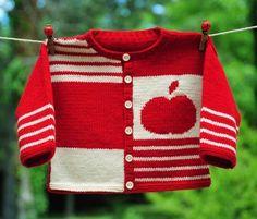layette gilet pomme 3 mois en mérinos rouge et écru neuf tricoté main