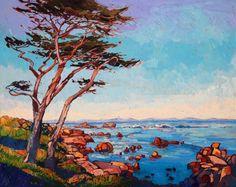 """Monterey Wisps"", original oil painting of Pebble Beach, by Erin Hanson"