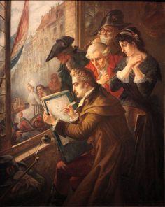 Painter David drawing Marie-Antoinette led to her execution, 1793, by Joseph-Emmanuel van den Büssche