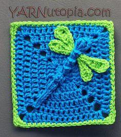 Dazzling Dragonfly Granny Square | AllFreeCrochetAfghanPatterns.com