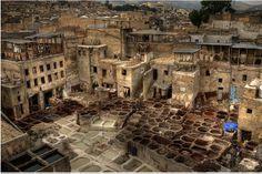 Zona de los curtidores de piel en Fez