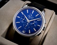 JUST IN: Zenith Captain Chronograph with a Striking Blue Dial. This Timepiece is Limited to 1975 Pieces! Reference: 03.2116.400/51.c700, 03-2116-400-51-c700 @ www.europeanwatch.com