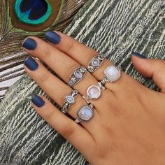 Blue Moonstone, Rainbow Moonstone Ring, Silver Jewelry, Silver Rings, Sparkle, Gemstones, Sterling Silver, Seashells, Rainbows