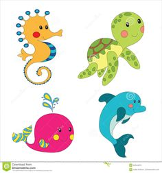 sea animal shaped  baby lovey picture ideas | Set of cartoon sea creatures isolated on white. Vector illustration ...