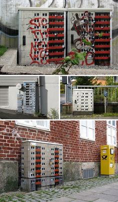 micro cities - Electrical boxes, substations, bathrooms and other less-than-aesthetically-pleasing elements found on city streets are generally eyesores, making them an ideal canvas for imaginative transformations. Street artist EVOL turns them into tiny buildings,