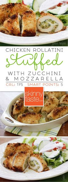 Chicken Rollatini Stuffed with Zucchini and Mozzarella Shredded zucchini, garlic and mozzarella cheese rolled in chicken cutlets, then dipped in oil and fresh lemon juice, breaded and baked to perfection! Skinny Recipes, Ww Recipes, Chicken Recipes, Dinner Recipes, Cooking Recipes, Healthy Recipes, Skinnytaste Recipes, Recipies, Detox Recipes