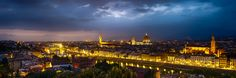 Florence lights from the Piazzale Michelangelo, Florence, Italy