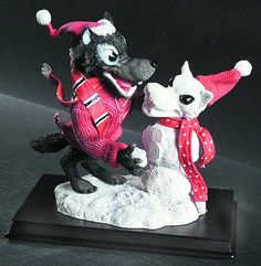 nc state wolfpack christmas figurines | SLAVIC TREASURES Snow Mascot Figurines STOCK
