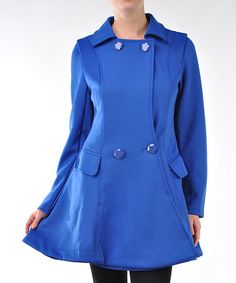 Take a look at this Blue Fit & Flare Peacoat by Lulu on #zulily today!  $49.99 from $148.00