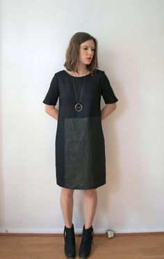 Black and Gold Paneled Linen Shift Dress by kertis on Etsy