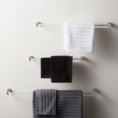 Shop Acrylic and Polished Nickel Towel Bars. Acrylic and polished nickel towel bar lifts bath linens in modern style. Round acrylic bar curves as it reaches nickel ends against the wall. Black Toilet Paper Holder, Toilet Paper Storage, Ux Design, Brushed Nickel Towel Bar, Black Towels, Wood Bath, Wall Mounted Toilet, Towel Hooks, Towel Holder