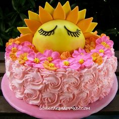 """Lemon Cheesecake with Whipped Mascarpone frosting made for a """"You are my sunshine"""" themed Baby Shower! Sunshine Birthday Cakes, Sunshine Cake, Baby Shower Cakes, Baby Shower Themes, Shower Ideas, Birthday Party Themes, 2nd Birthday, India Cakes, Lemon Cheesecake"""