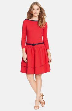 Lauren Ralph Lauren Belted Boatneck Drop Waist Dress available at #Nordstrom