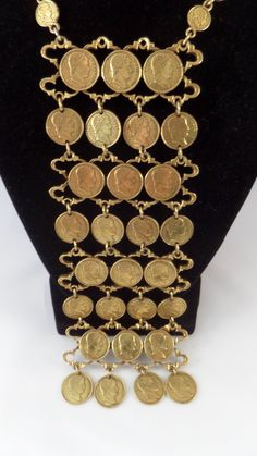 Napoleon Gold Coin Necklace Chain Link by TallulahsVintage on Etsy, $45.00