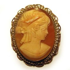 vintage art deco 1920s genuine hand carved conch shell cameo