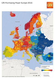 Map of purchasing power in Europe - Vivid Maps European Map, European History, European Countries, Economic Geography, Historical Maps, Diagram, World, Economics, Politics